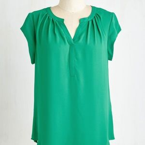 Modcloth Mostly likely to suceed blouse green
